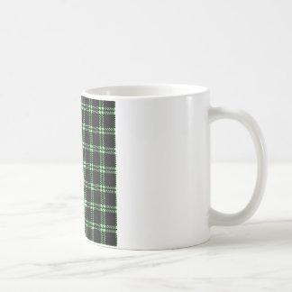 Three Bands Small Square - Light Green on Black Coffee Mug