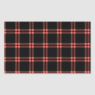 Three Bands Small Square - Pastel Red on Black Rectangular Sticker