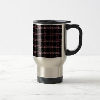 Three Bands Small Square - Puce on Black Travel Mug
