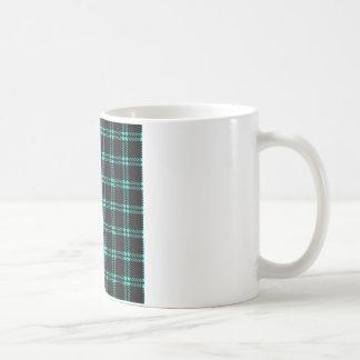 Three Bands Small Square - Turquoise on Black Coffee Mug