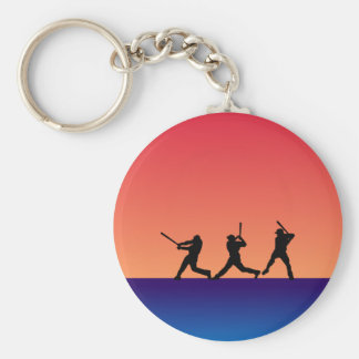 Three Baseball Batters Keychain