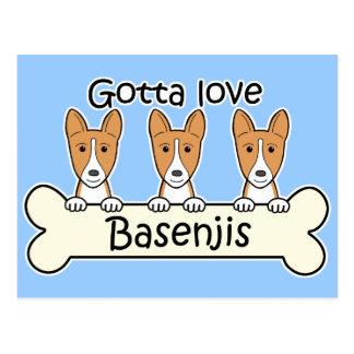 Three Basenjis Postcard