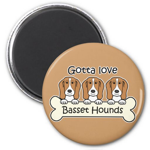 Three Basset Hounds 2 Inch Round Magnet