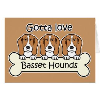 Three Basset Hounds Card