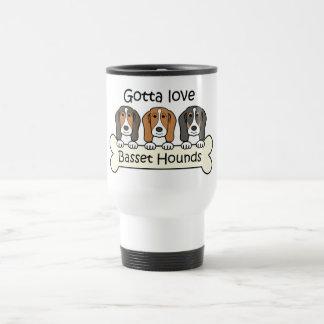 Three Basset Hounds 15 Oz Stainless Steel Travel Mug