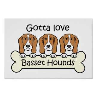 Three Basset Hounds Poster