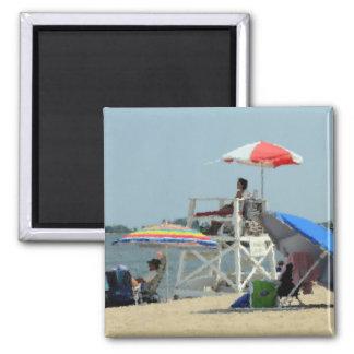 Three Beach 2 Inch Square Magnet