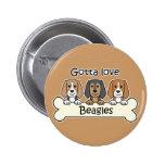 Three Beagles Button
