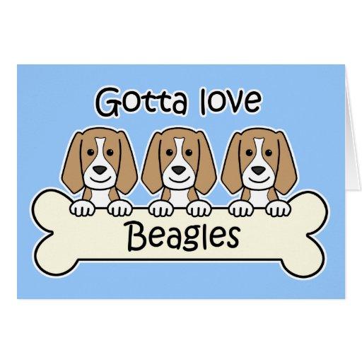 Three Beagles Greeting Card