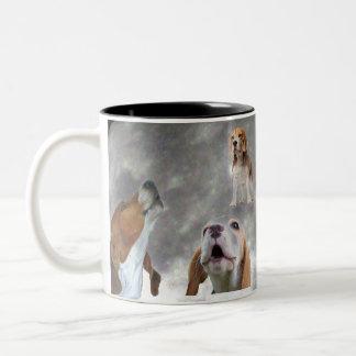 Three Beagles Howling at the Moon Mug