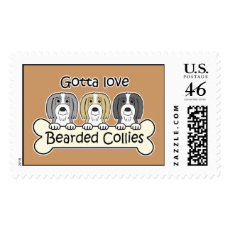 Three Bearded Collies Postage Stamp