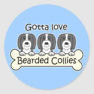 Three Bearded Collies Sticker