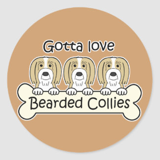 Three Bearded Collies Round Stickers