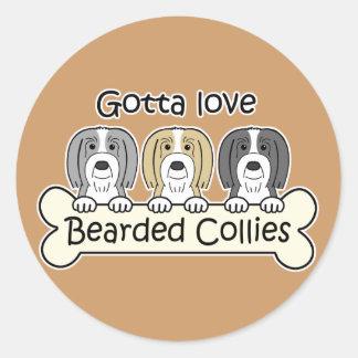 Three Bearded Collies Stickers