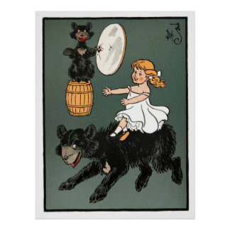 Three Bears: Goldie Riding Papa Bear Posters