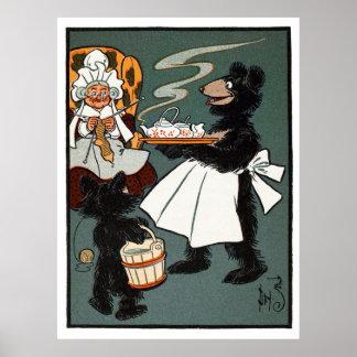 Three Bears: Mama Bear Serving Tea Print