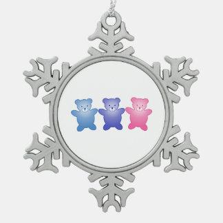 Three Bears Snowflake Pewter Christmas Ornament