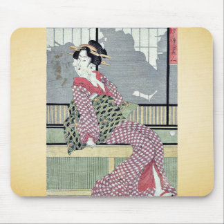 Three beauties enjoying the cool by Kikukawa,Eizan Mouse Pad
