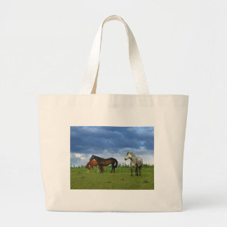 Three beautiful horses on sunny Summer day Tote Bags