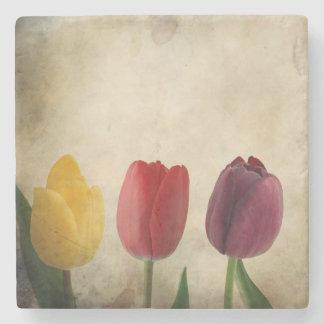 Three Beautiful Tulips Stone Coaster