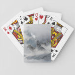 """Three Beautiful Wolves in the Winter Snow Playing Cards<br><div class=""""desc"""">I find this image of three wolves pausing in the snow breathtaking! The center wolf is howling and you can see his breath while the other two animals stand by, watching on alert. The shades of grays and whites with splashes of darker tones create almost an ethereal tone and celebrates...</div>"""