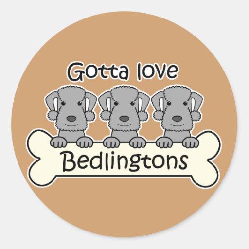 Three Bedlington Terriers Round Stickers
