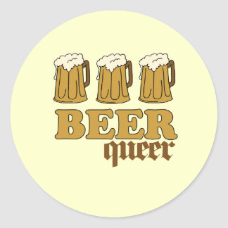 Three Beer Queer Classic Round Sticker