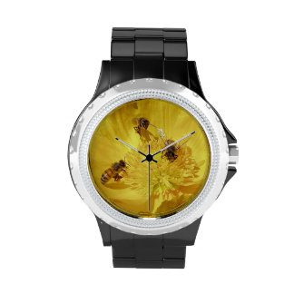 Three Bees in a Flower Watch