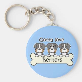 Three Bernese Mountain Dogs Keychain