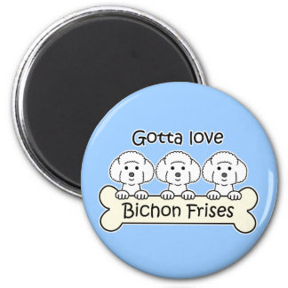 Three Bichon Frises Fridge Magnets
