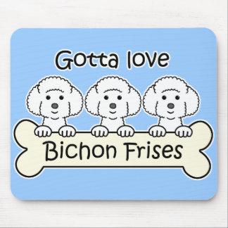 Three Bichon Frises Mouse Pad