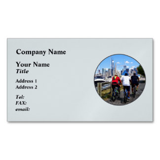Three Bicyclists By Liberty Landing Marina Magnetic Business Card