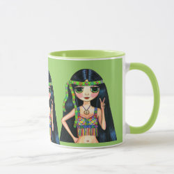 Three Big Eye Hippie Girls Flashing Peace Sign Mug