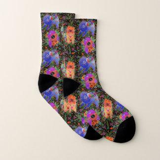 THREE BINDI CHOWS -  black background socks