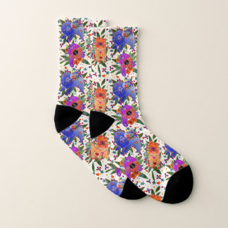 THREE BINDI CHOWS - white  background socks