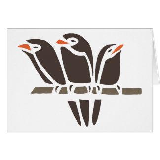 Three Bird Birds Tree Black Art Cartoon Animal Greeting Card