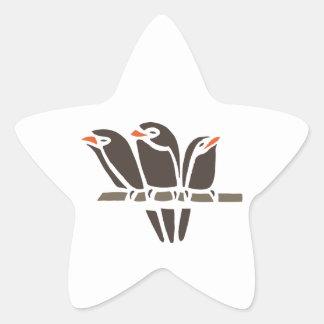 Three Bird Birds Tree Black Art Cartoon Animal Star Sticker
