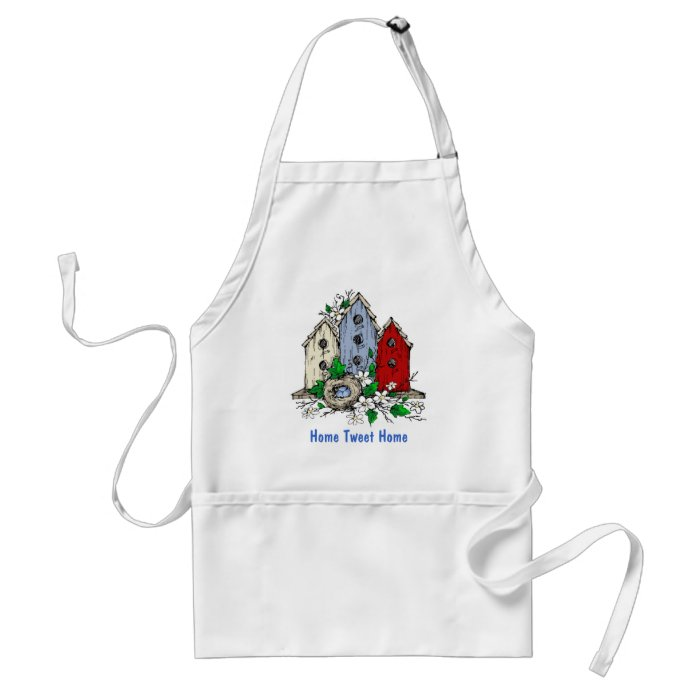 Three Birdhouses, a Nest and Flowers Adult Apron