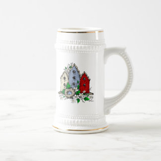 Three Birdhouses, a Nest and Flowers Beer Stein