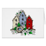 Three Birdhouses, a Nest and Flowers Card