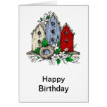 Three Birdhouses, a Nest and Flowers Cards