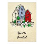Three Birdhouses, a Nest and Flowers Invites