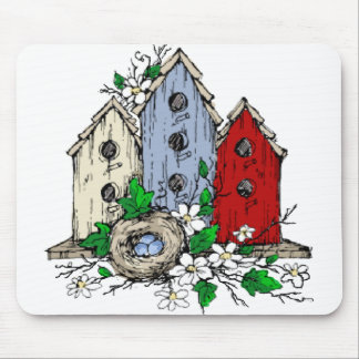 Three Birdhouses, a Nest and Flowers Mouse Pad