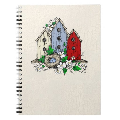 Three Birdhouses, a Nest and Flowers Notebook