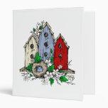 Three Birdhouses, a Nest and Flowers Vinyl Binder
