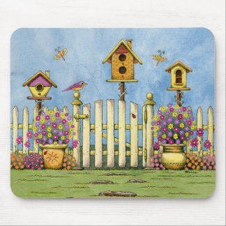 Three Birdhouses in a Garden Mouse Pad