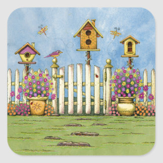 Three Birdhouses in a Garden Square Sticker