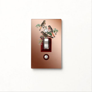 Three birds on copper light switch cover