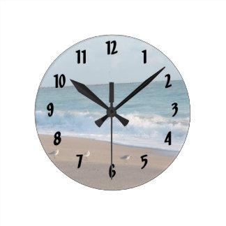 three birds on shore photo florida beach round clock