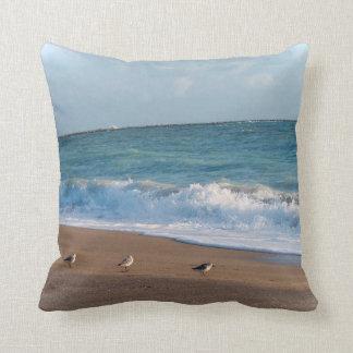 three birds on shore photo florida beach throw pillow